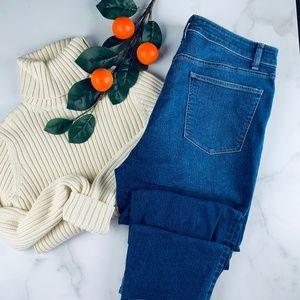 Talbots straight crop curvy jeans dark wash 12